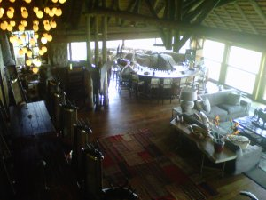 View of the lounge and bar from above the kitchen