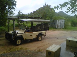 Our transport vehicle to get us from the staff village to the lodge on the cliff